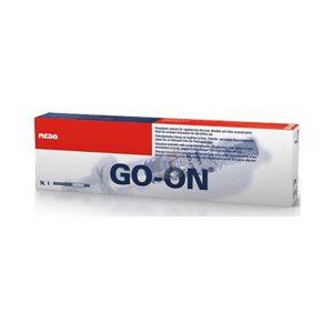 Go-On 25mg/2,5ml 1% jest roztworem kwasu hialuronowego do iniekcji dostawowych. Ampułkostrzykawka zawiera 2,5 ml 1% roztworu o optymalnej masie cząsteczkowej. Go-On jest wytwarzany w procesie biofermentacji, przez co nie zawiera białek zwierzęcych.