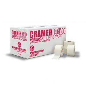CRAMER - Porous Athletic Tape 950. Taśma wytwarzana jest w 100% z naturalnej bawełny z dodatkiem tlenku cynku podnoszącego solidność taśmy na rozciąganie i polepszającego przyleganie taśmy do ciała.