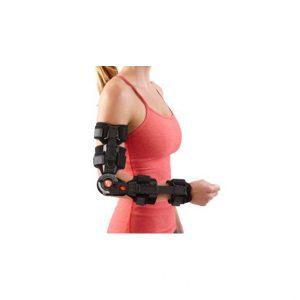 BREG-Zegarowy zawiasowy stabilizator łokcia T-scope. Teleskopowe przedramię oraz szyny na ramieniu dają możliwość łatwego dopasowania do każdej długości ręki.