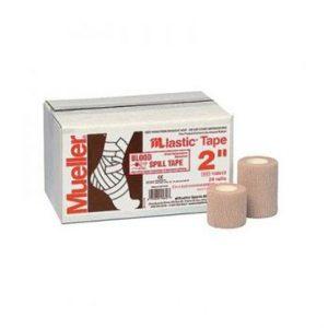 Mueller-M lastic tape. Stosowana jako Blood Spill tape. Lekka, rozciągliwa, spajająca. Przyczepia się tylko do siebie. Może być stosowana na owłosione powierzchnie i wrażliwą skórę. Nie niszczy odzieży ani ubrań. Nie zawiera lateksu.