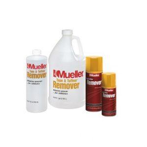 Mueller-Remover – do usuwania kleju. Rozprowadzić po zewnętrznej stronie taśmy aby ją poluzować. Usuwa spraye Tuffner™, maści i kleje ze skóry. Służy również do usuwania plam tłuszczu i maści z przyrządów treningowych.