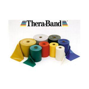 Thera-Band Taśma rehabilitacyjna. Produkt oferowany osobom u których występują reakcje alergiczne na naturalny lateks. Wyprodukowane z polisoprenu i syntetycznego kauczuku. Opór taśm bezlateksowych jest zgodny z oporem taśm z zawartością lateksu.