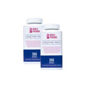Noble Pharma Enzyme Max-ultra silny kompleks enzymów, 350 kapsułek. ENZYME MAX jest dietetycznym środkiem spożywczym specjalnego przeznaczenia medycznego. Enzyme Max jest stosowany w postępowaniu dietetycznym w stanach zapalnych, podrażnieniach ścięgien oraz chorobach układu kostno-stawowego, związanych ze sposobem odżywiania.