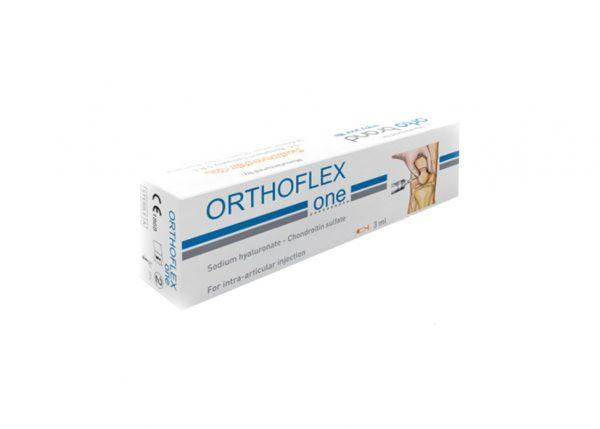 ORTHOFLEX ONE 3ML jest sterylnym, lepkim sprężystym roztworem zawierającym dwa wysoko oczyszczone polimery biologiczne, hialuronian sodu i siarczan sodu chondroityny. ORTHOFLEX ONE składa się z hialuronianu sodu pochodzącego z bakteryjnej fermentacji szczepu Streptococcus i siarczanu siarczanu chondroityny wytworzonego z chrząstki bydlęcej.
