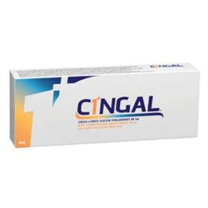 Cingal usieciowany kwas hialuronowy z heksacetonidem triamcynolonu jako substancją pomocniczą. Cingal jest białawym, nieprzezroczystym, jałowym, przeznaczonym do jednorazowego użytku roztworem usieciowanego żelu kwasu hialuronowego (HA) i heksacetonidu triamcynolonu (TH) – kortykosteroidu – jako substancji pomocniczej.